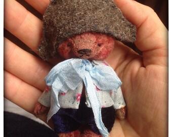 2,5 inch Artist Handmade Plush Miniature Pocket Sized Teddy Bear Napoleon by Sasha Pokrass