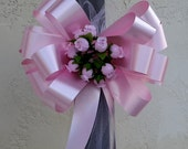 6 Baby Pink Pull Bows Wedding Church Pew Decorations Rosebuds Tulle