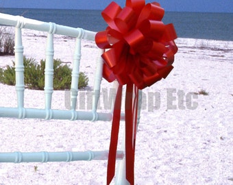 6 Red Pull Bows Church Pew Chair Wedding Gift Party Decorations