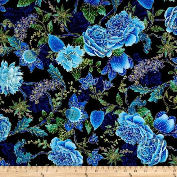 Black Flower Fabric Timeless Treasures Tree Of Life: Timeless Treasures Tree Of Life Large Black Floral Metallic