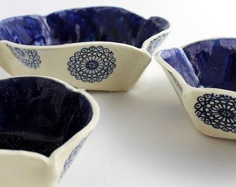 Blue and White Ceramic Nesting Bowls - Set of Three