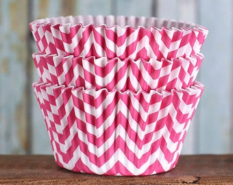 Pink Cupcake Liners, Chevron Cupcake Liners, BakeBright Cupcake Liners, Pink Chevron Cupcake Liners, Baking Cups, Cupcake Cases (60)