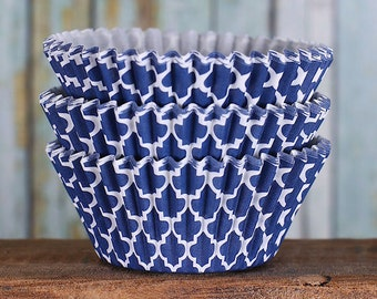 Navy Cupcake Liners, Blue Quatrefoil Cupcake Liners, BakeBright Cupcake Liners, Casa Blanca Cupcake Liners, Baking Cups, Cupcake Cases (60)