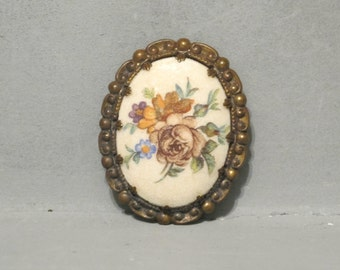 Vintage Floral Oval Cameo Brooch Western Germany / Hand Painted Bouquet Garden Flowers Prong Set in Brass Frame Old Pin Rose Forget Me Not