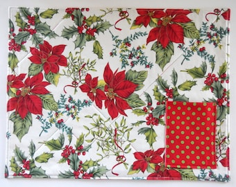 Quilted Holiday Placemats, Silverware Holder : Set of 4