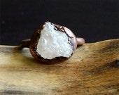 Morganite Ring, Copper Gemstone Ring, Raw Crystal Ring, Beryl Ring, Ring Size 8, Copper Morganite Ring, Crystal Ring
