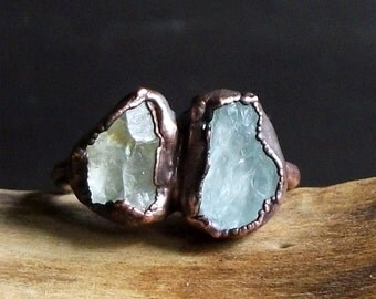 Aquamarine Raw Natural Crystal Ring Rough Stone Jewelry Copper Size 7.5 Birthstone Midwest Alchemy Organic Ring