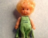1968 RARE  Vintage Pop Playmates Doll Lily Lime 4 inch doll - Liddle Kiddle Era