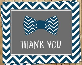 Bowtie, Thank You Cards, Baby Shower, Boys, Birthday, Sprinkle, Chevron Stripes, Navy, Blue, Gray 24 Folding Notes, FREE Shipping, BOWBYI