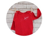 Love Notes Paper Airplane Long Sleeved Infant Creeper, Cotton Baby Bodysuit, Valentines Day One Piece, red, Hand Printed, Baby Shower Gift