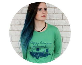 Long Sleeved Happy Camper Graphic Tee Shirt, Ladies Cotton Crewneck, Grass Green, Hand Screenprinted, Nature, Camping Outdoors, Clothing