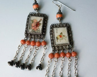 Chinese Scrimshaw Coral Sterling Earrings