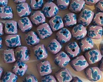 20 x 12mm polymer clay purple with blue flowers cube beads