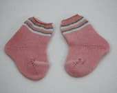 Vintage Pink Doll Socks with White & Blue Stripes 2-3/4 Long Composition  Bisque or Plastic