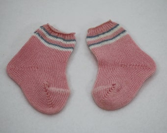 """Pink Doll Socks with White & Blue Stripes 2-3/4"""" New Old Stock"""