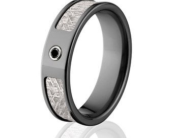 New Meteorite Rings, Black Diamond Meteorite Wedding Rings, Meteorite Wedding Bands  - Sku: BZ-6F_Bezel_BlkDia_Meteorite