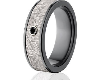 New Mens Meteorite Rings, Black Diamond Meteorite Wedding Rings, Meteorite Wedding Bands - Sku: BZ-Impg-7F-Meteorite-BlkDia