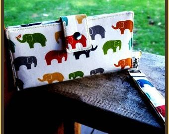 Ready to ship elephant clutch wallet handmade