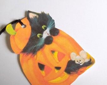 Retro Halloween - Black Cat Pumpkin - Gift Tags - Set of 3 - Jack O Lantern Tags - Cat And Mouse - 1950's Halloween - Retro Black Cat -