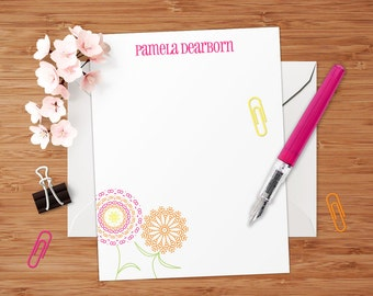 Pamela (Mod Floral) - Set of 8 CUSTOM Personalized Flat Note Cards/ Stationery