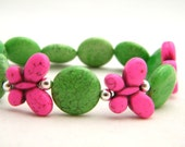 RESERVED LISTING for Janice, Butterfly Bracelet, Green and Pink Bracelet, Turquoise Bracelet