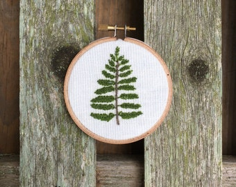 "3"" Hoop with Embroidered  Fern"