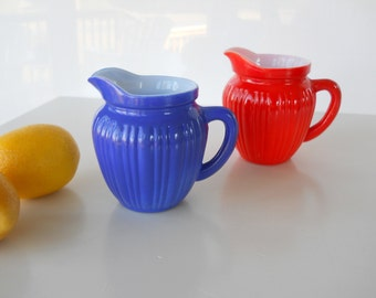 Vintage Hazel Atlas Cobalt Blue and Orange Gay Rainbow Ribbed Creamers/Pitchers