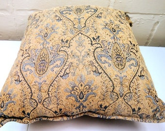 Mid Century Large Damask Blue and Tan Couch Pillow