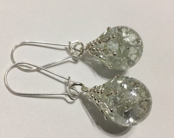 Crystal clear fried glass marble earrings - shattered crackle glass globe upcycled statement earrings