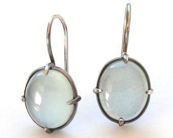 Aquamarine Pastel Minimal Earring Oxidized Silver