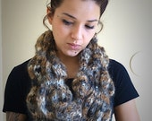 Knitted Scarf Handmade with Angora Mohair Blend Wool Bubble Design Extra Long Scarf