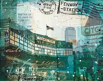Opening Day paper print | Boston Red Sox Art | Fenway Park art | Boston mixed media art | Baseball art