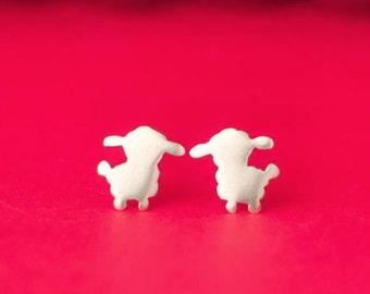 Little Lamb Earrings Lamb studs sterling silver kids jewelry cute sheep earrings jewelry farm animal earrings