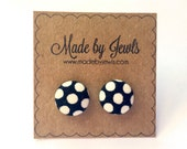 Black and White Large Polka dot Handmade Fabric Covered Hypoallergenic Button Post Stud Earrings 10mm