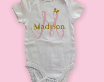 Glitter Monogram Name bodysuit, hospital gift, Baby Gift, Newborn Gift, Baby Shower Gift