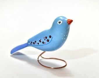 Bird Lover Wood Carving Gift, Stylized Blue Wooden Bird Sculpture, Winter Decor, Wood Animal, Woodworking Wife Birthday Valentine Gift