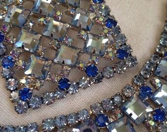 Juliana Blue Flat Square Rhinestone Bracelet Brooch Pendant