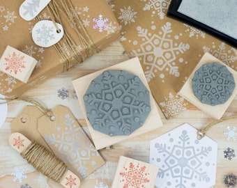 Christmas Dotty Snowflake Rubber Stamp - Stocking Stuffer Filler - Christmas Scrapbooking - Card Making - Snow - Snowy - Winter Stamper