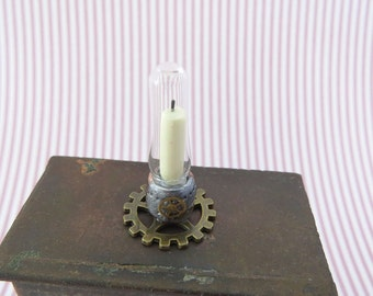 Steampunk candle holder with faux brass gear in 1:12 scale