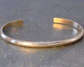Dainty Solid 14k Gold Cuff Bracelet Half Round with Mirror Finish