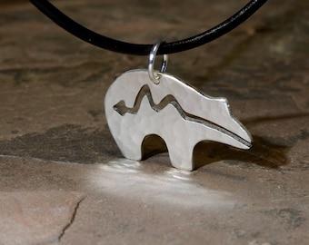 Rustic Spirit Bear Pendant Handmade from Sterling Silver