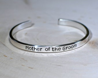 Mother of the Groom Sterling Silver Cuff Bracelet in Solid 925 - BR519