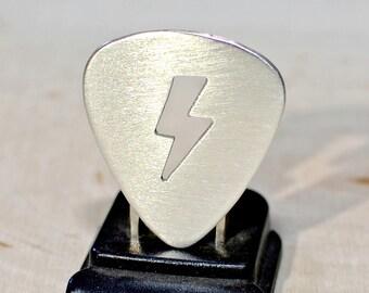 Lightening bolt sterling silver guitar pick - Solid 925 handsawed custom cut out plectrum - GP782