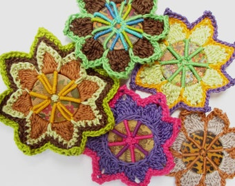 Button Crochet Brooches - PDF Pattern