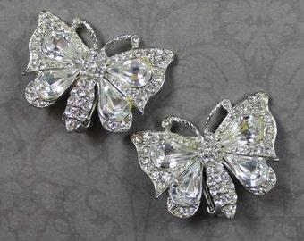 Vintage Clear Rhinestone Silver Butterfly Clip On Earrings
