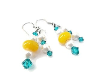 Lampworked Dangle Earrings/Beaded Earrings with Swarovski Crystals/Spring/Yellow, Blue