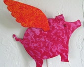 Metal Garden Art Sculpture Flying Pig Stake Pink Orange Outdoor Decor Yard Art Recycled Metal When Pigs Fly Custom Orders Welcome