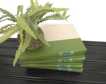 Book Stack - Green Books for Decor - Books by Color - Props Staging book shelf bookcase - Home decor books