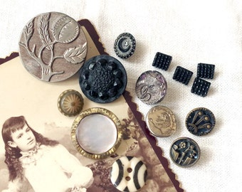 Antique Victorian BUTTON Lot Steel Glass Silver Infused Black Glass China and more