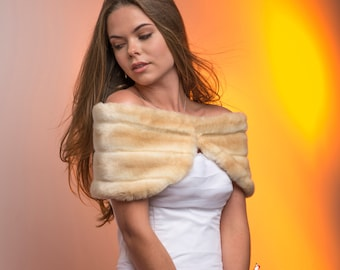 """10"""" wide Custom woman's wrap shawl winter wedding shrug Available in a variety of Specialty faux furs"""
